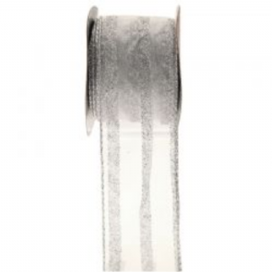 SILVER WIRED EDGE RIBBON  RI7113 out of stock